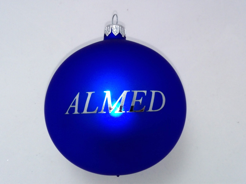 Christmas baubles with a logo almed
