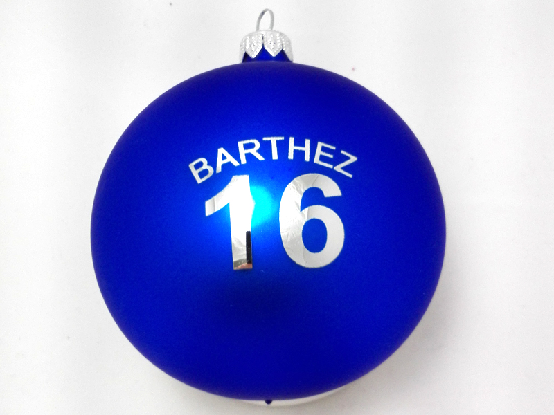 Christmas baubles with a logo barthez