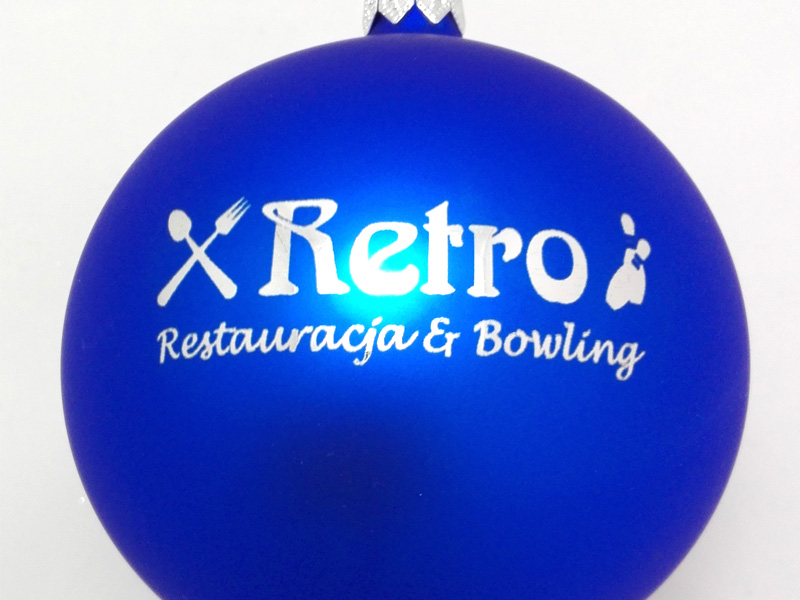 Christmas baubles with a logo retro