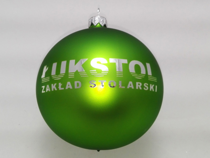 christmas ball with logo, green balls