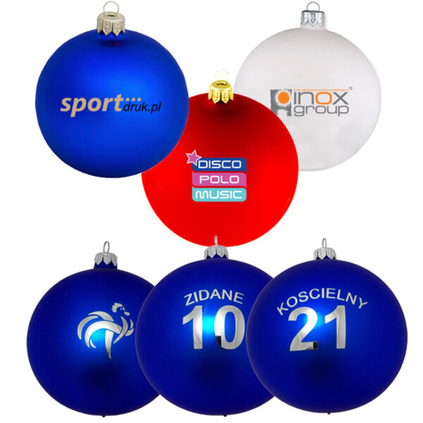 Christmas baubles with a logo