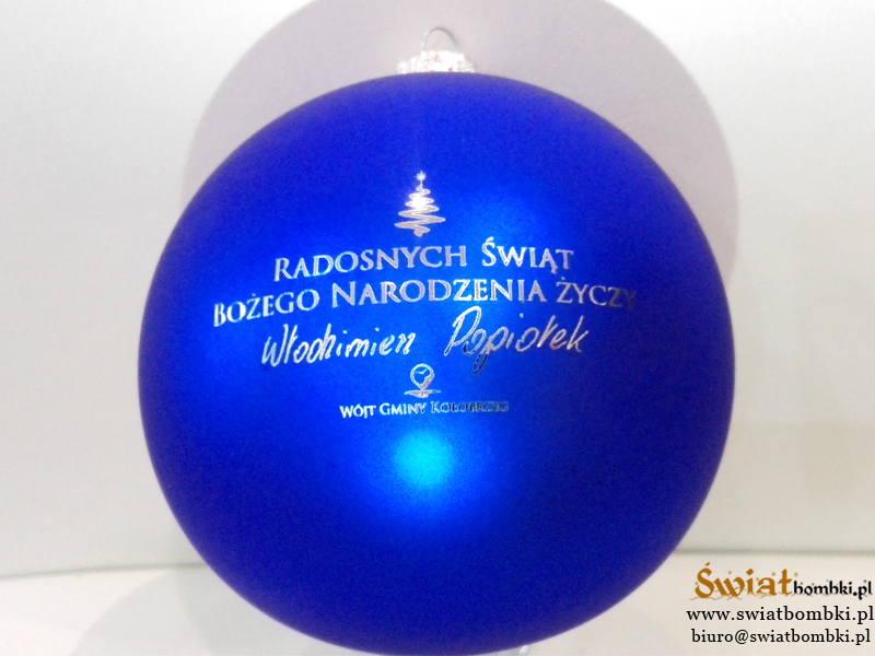 christmas balls with logo, blue 100mm