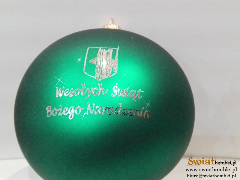 christmas balls with logo, green